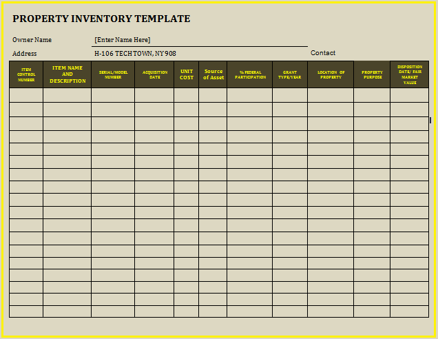 Property Inventory Template  Wordstemplates    Template