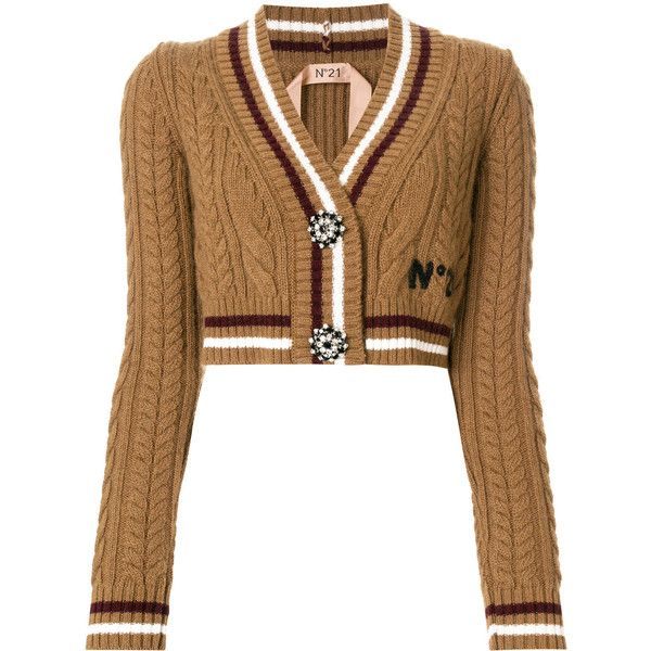 Nº21 cropped embellished button cardigan ($1,055) ❤ liked on ...