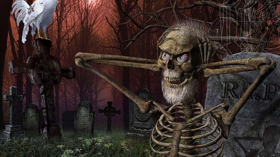 cemetery, Dark, funny, grave, halloween, humor, rooster, skeleton ...