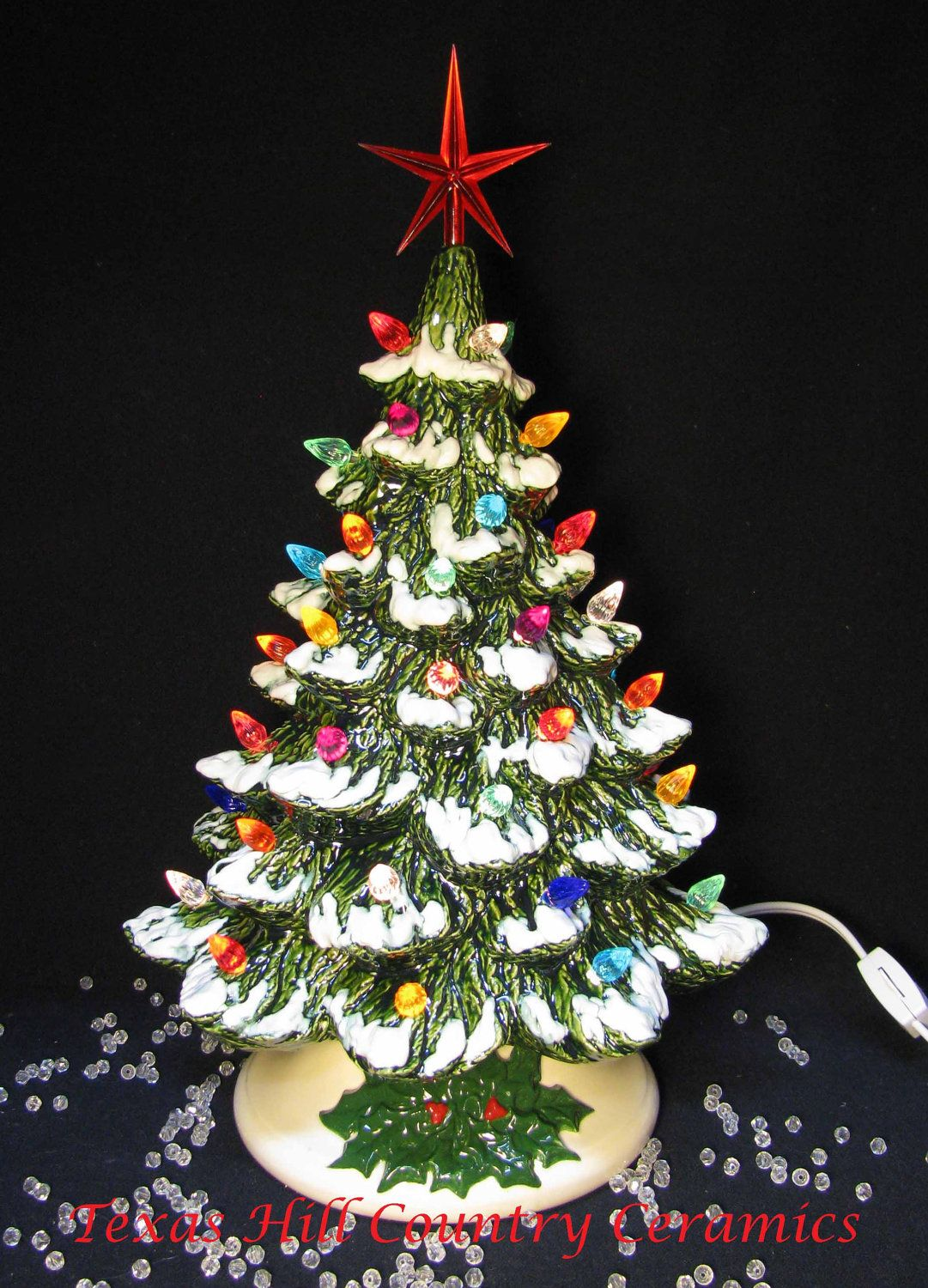wishing for falling snow ceramic christmas tree 12 inch tall lighted tabletop style detailed holly base 6900 via etsy