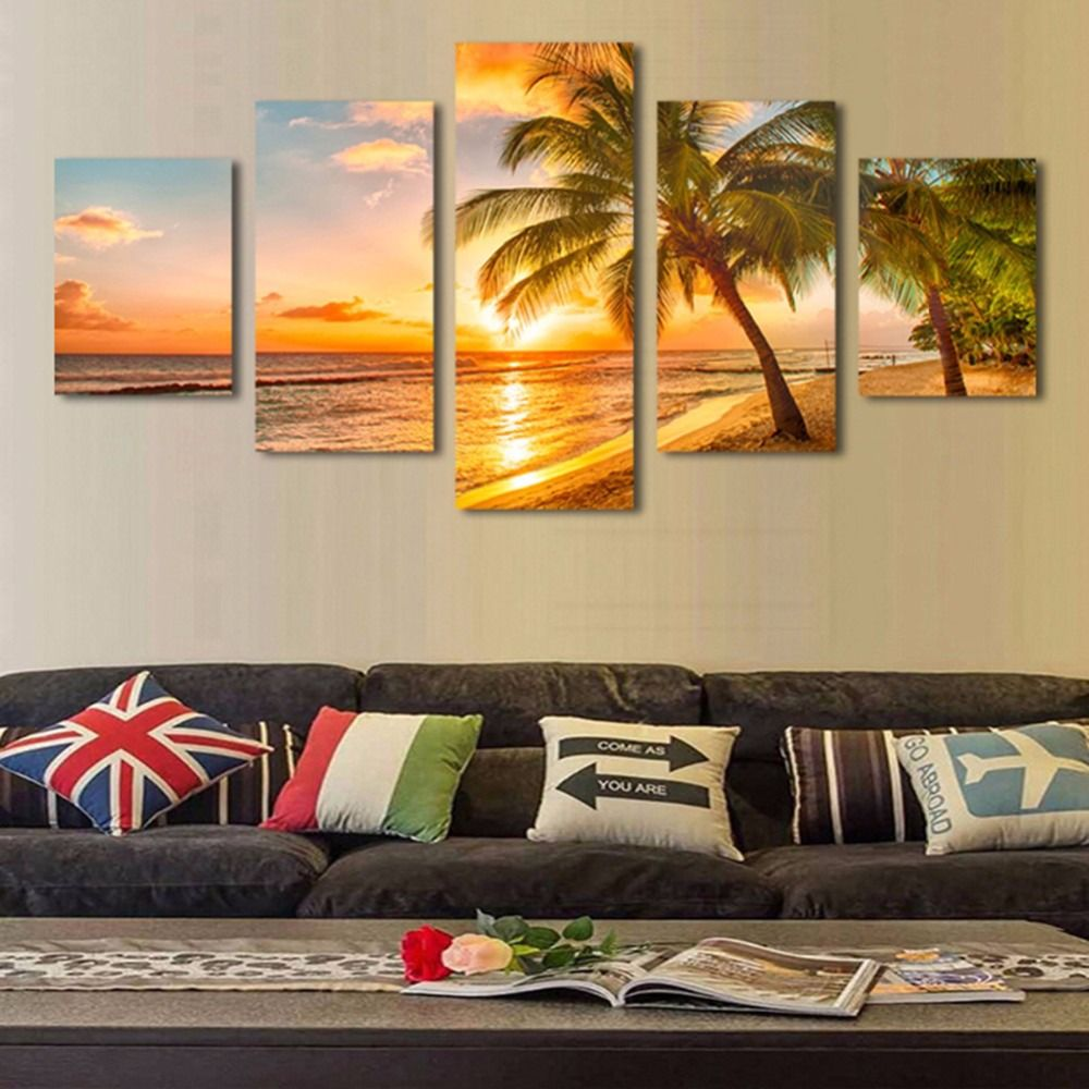 Canvas Painting 5 Modern Art Tree Paintings Wall Decorative Sea ...