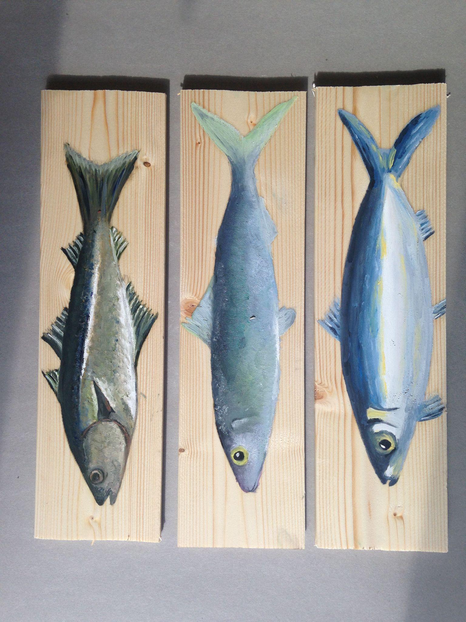 Les poissons peinture l 39 huile les pinceaux de for Deco poisson bois