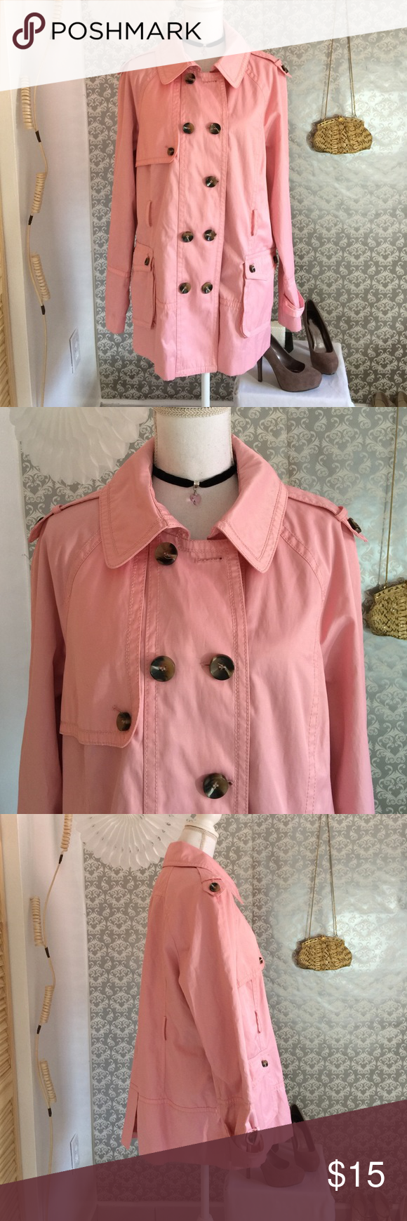 Jones New York pink weather proof jacket Lightly worn missing wrap around belt and in button at collar otherwise perfect condition 23 inches in length sleeves 27 inches in length Jones New York Jackets & Coats