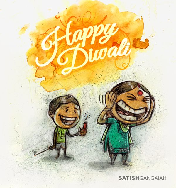 Diwali Greeting by chaotic strokes, via Behance