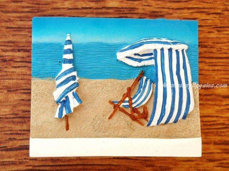 Im N Nevera Modelo Playa Sombrilla Y Hamaca Imanes