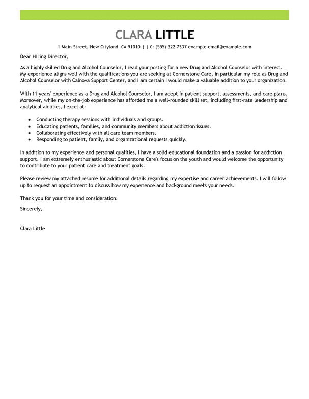 Livecareer Review Gorgeous Best Drug And Alcohol Counselor Cover Letter Examples  Livecareer .