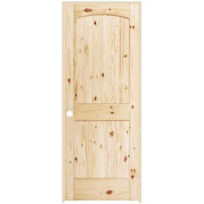 Steves U0026 Sons 2 Panel Round Top Plank Unfinished Knotty Pine Prehung  Interior Door