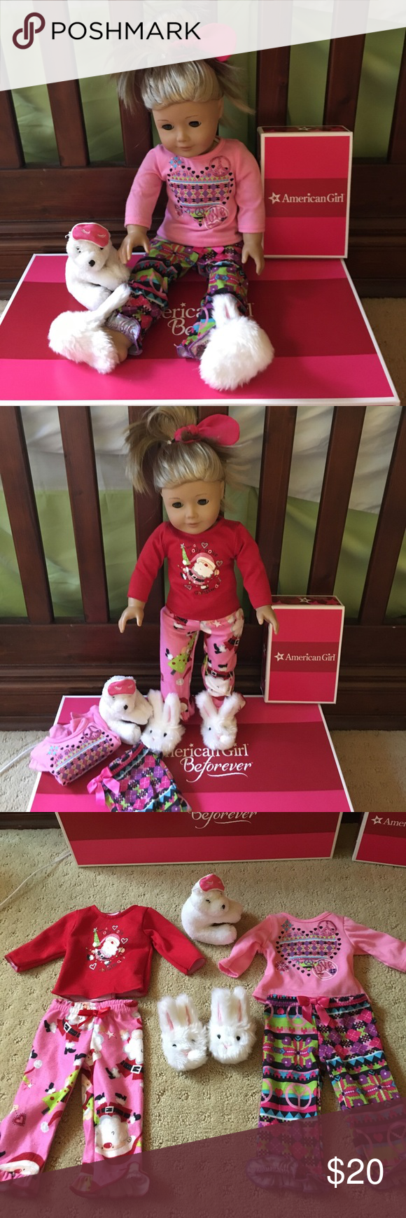 Set of two 18 inch doll pajamas. Plus 🐰 slippers A set of two 18 inch doll pajamas. Christmas Santa pjs and a peace pair. The includes the bunny slippers. My daughters American Girl dolls wore these. So cute! Dollie & Me Pajamas