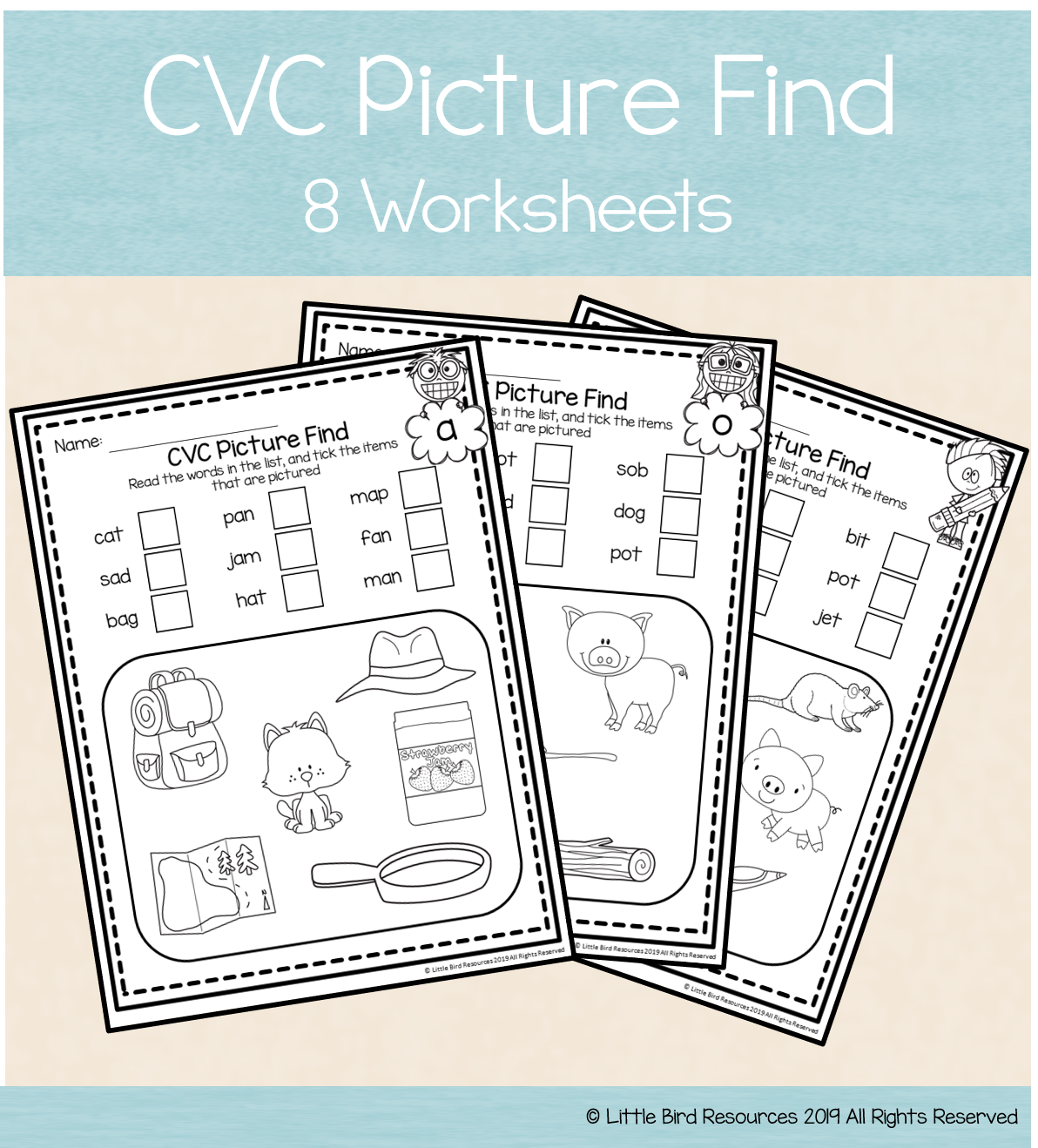 Cvc Word And Picture Match Worksheets