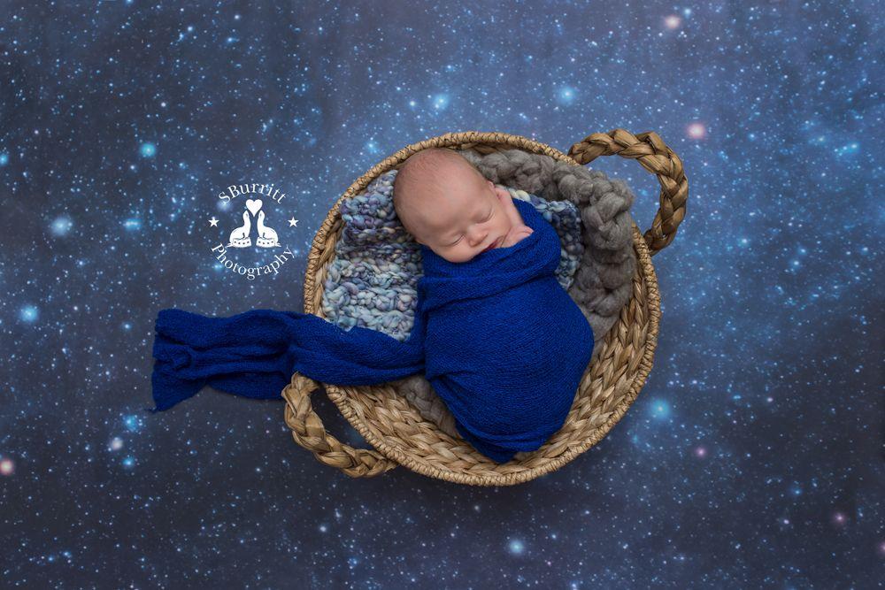 Like A Diamond In The Sky Newborn In Space Newborn Session Blue Baby Boy Stars Galaxy Nasa By Sburritt Photography Cana Newborn Session Baby Photos Newborn Boy