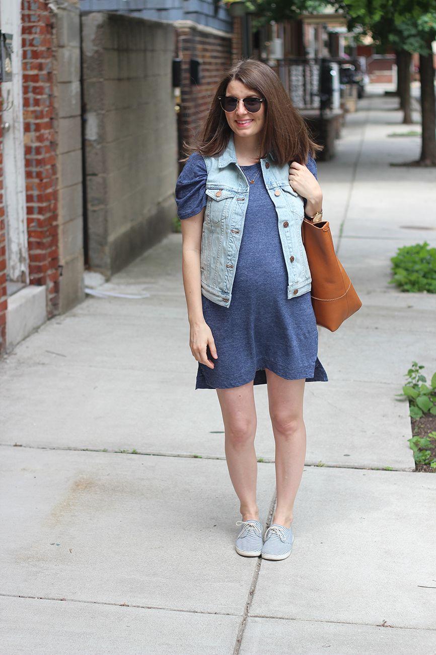 Maternity style denim vest t shirt dress p outfit pinterest maternity style denim vest t shirt dress ombrellifo Gallery