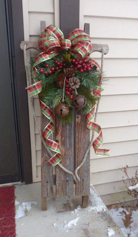 i bought the wooden sled but decorated it myself sled christmas decor front porch ideas - Wooden Sled Decoration Christmas