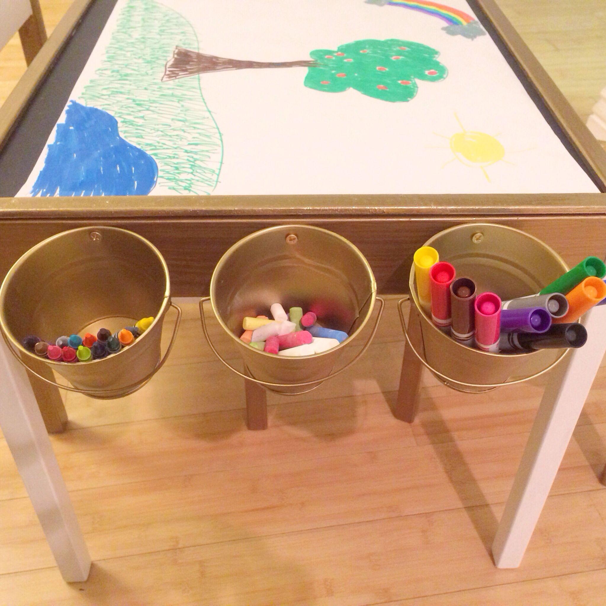 Our Ikea Latt Hack Art Table! Vinyl Upholstered Seats, Chalkboard Top, Roll  Of Art Paper Mounted Underneath.
