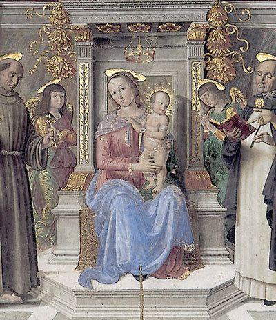 Giovanni Santi - Sacra conversazione, dettaglio - Cappella Tiranni, Chiesa di San Domenico, Cagli