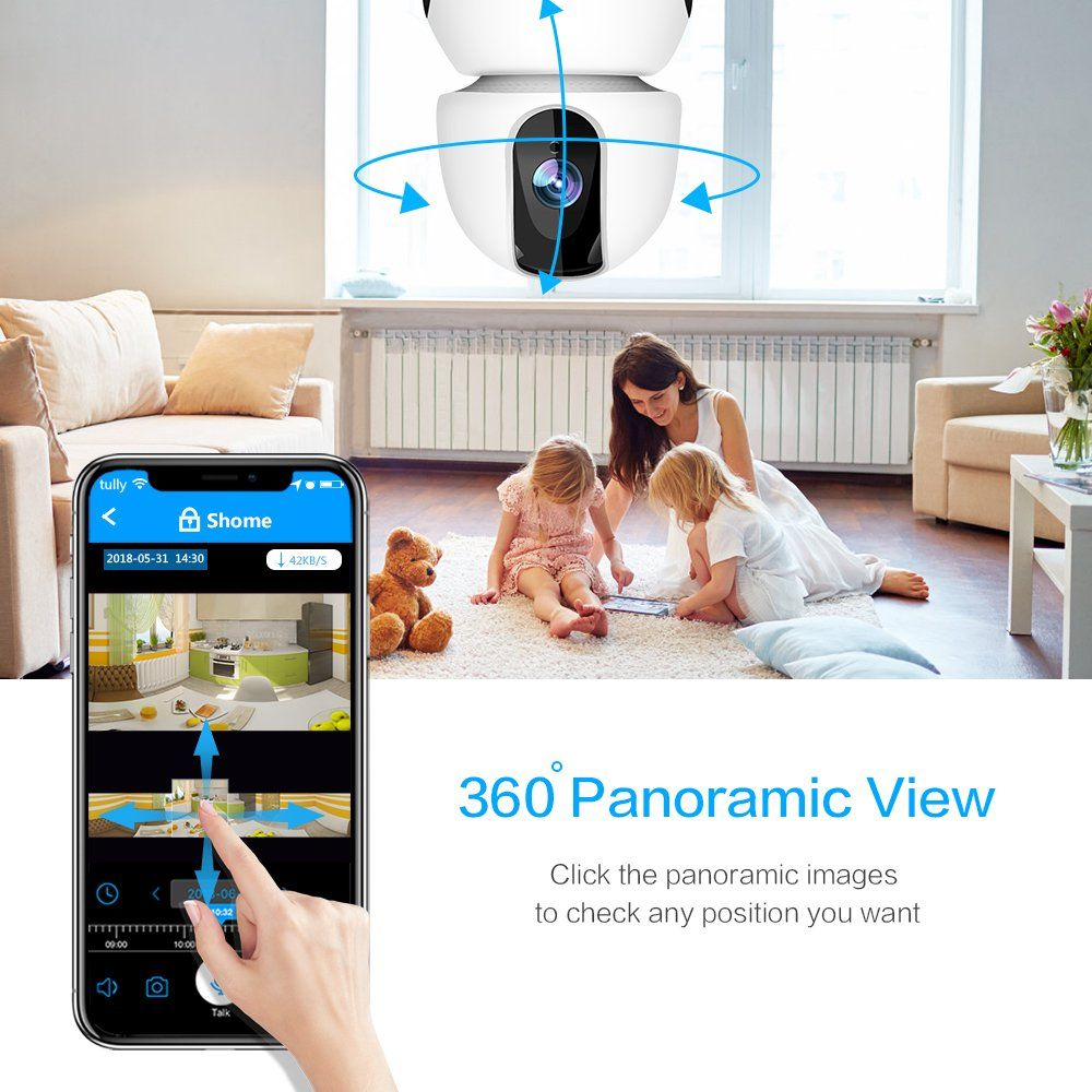 1080P Wireless IP Camera 360 Home WiFi Security Camera Indoor