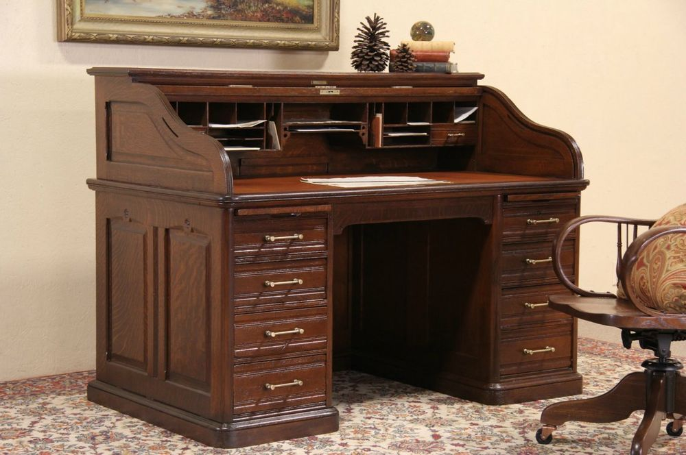 Oak Victorian Antique Roll Top Desk, Raised Panels, Leather Top, Signed Andrews #Traditional
