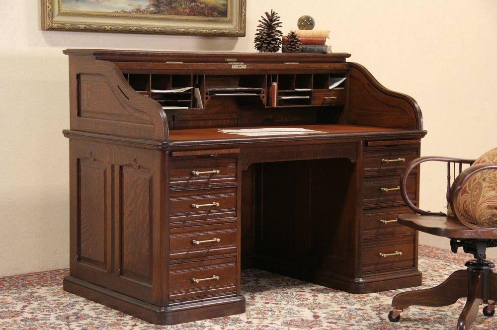 Oak Victorian Antique Roll Top Desk Raised Panels Leather Top Signed Andrews Traditional Muebles Hogar Muebles Para El Hogar Proyectos De Carpinteria