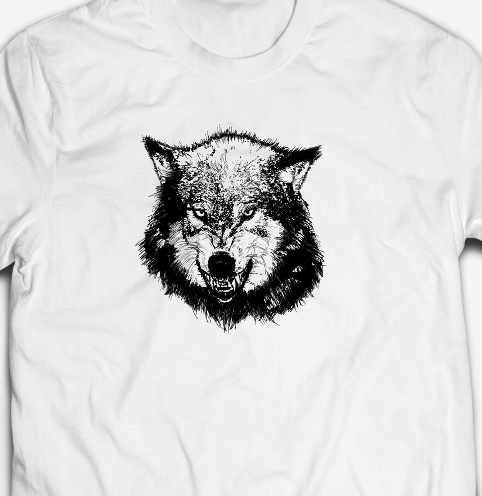ANGRY WILD WOLF ANIMAL NATURE WILDLIFE EXPLORE 100/%cotton Mens T-shirt TSHIRT
