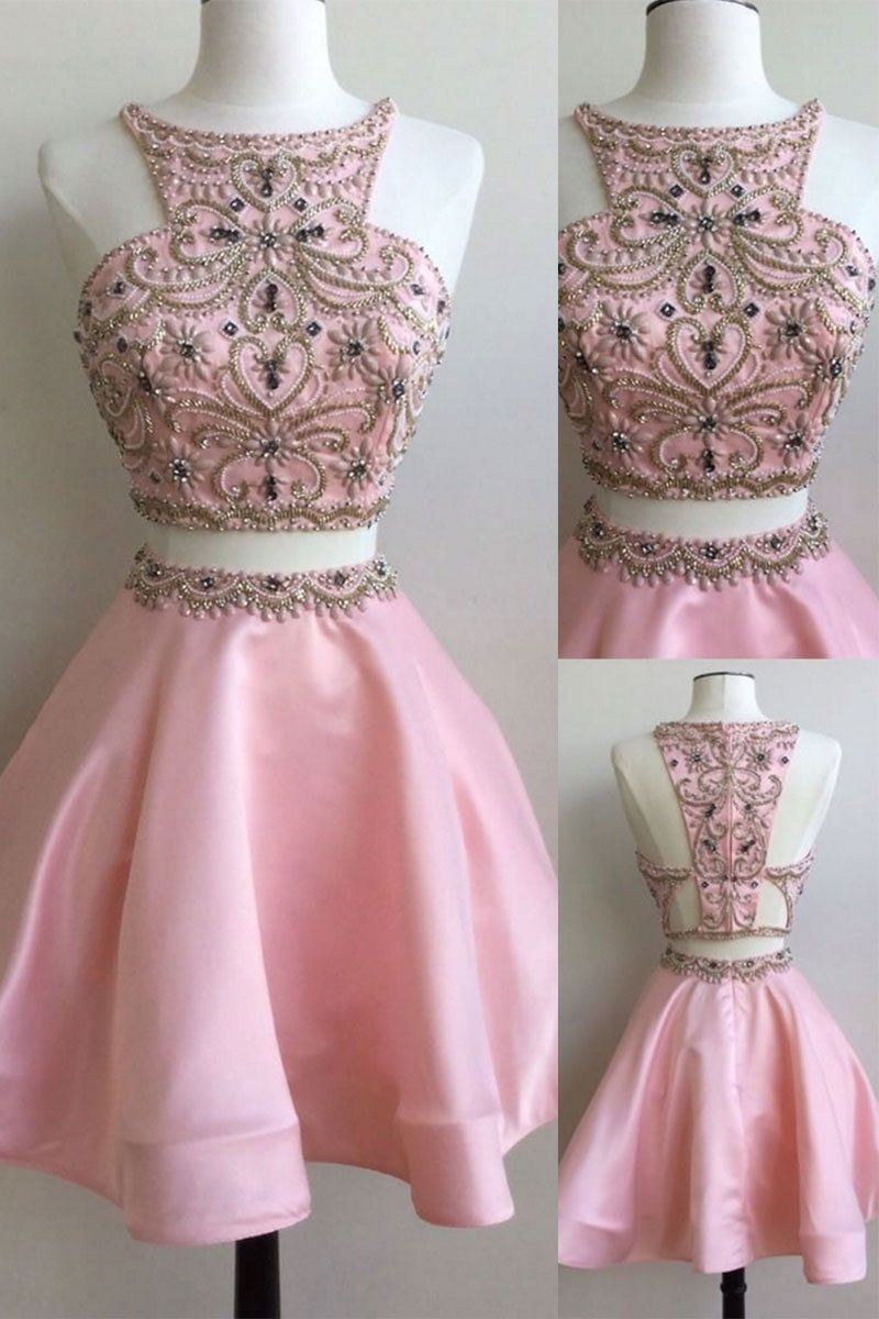 Cute pink two pieces beads short prom dress, pink homecoming dress ...