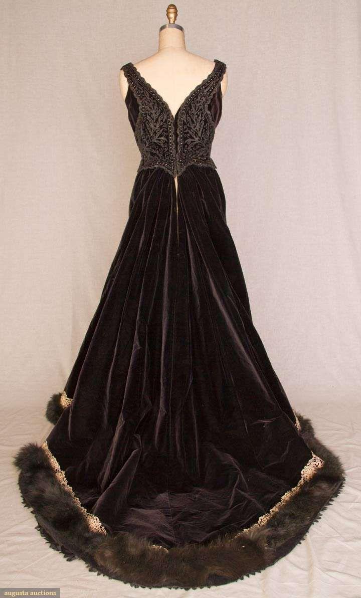 Piece black velvet lavish jet beading on sleeveless boned bodice