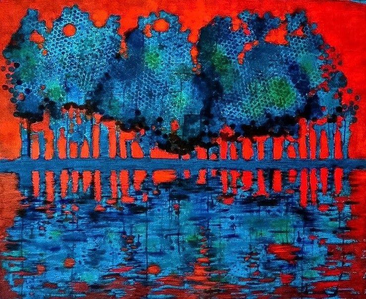 Akrylmålning Vårvinter | Petra Holmstedt
