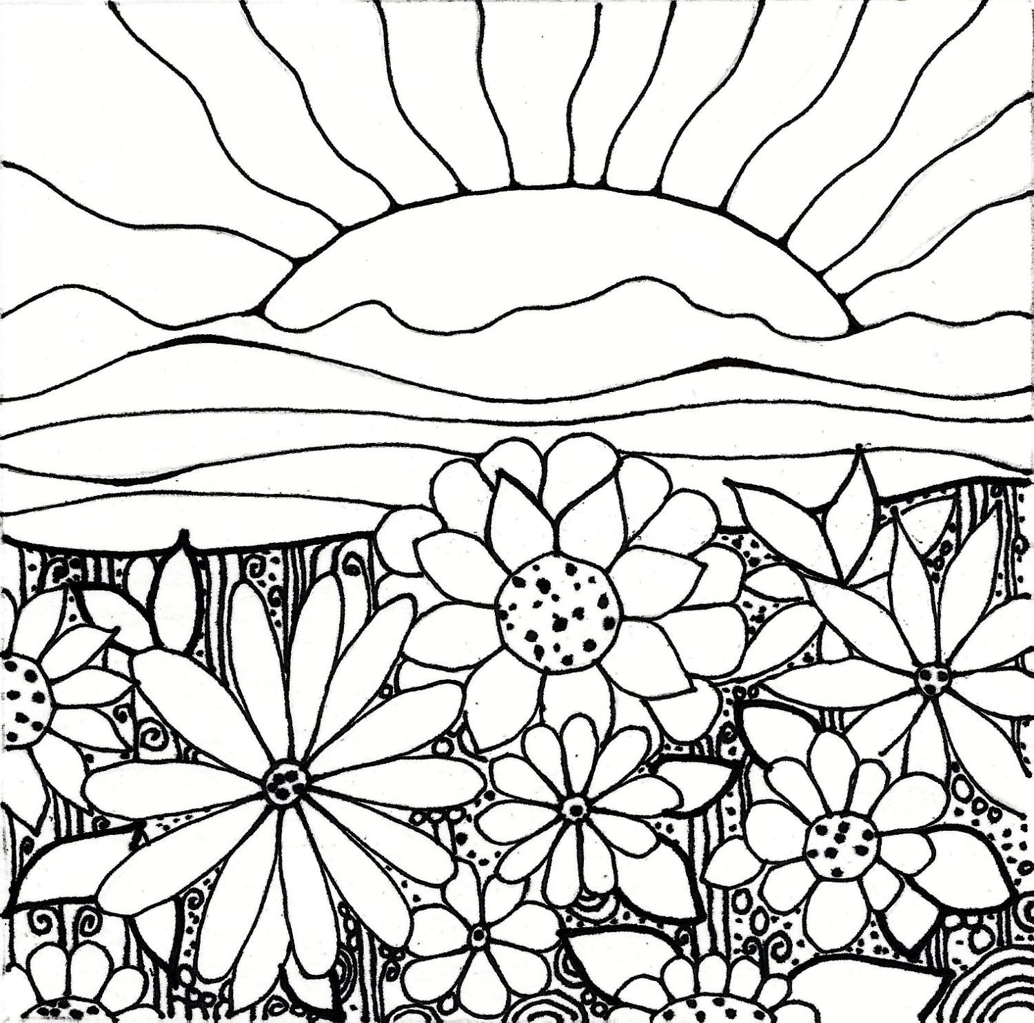 Sunrise Flowers Garden Coloring Pages Flower Coloring Pages Sun Coloring Pages
