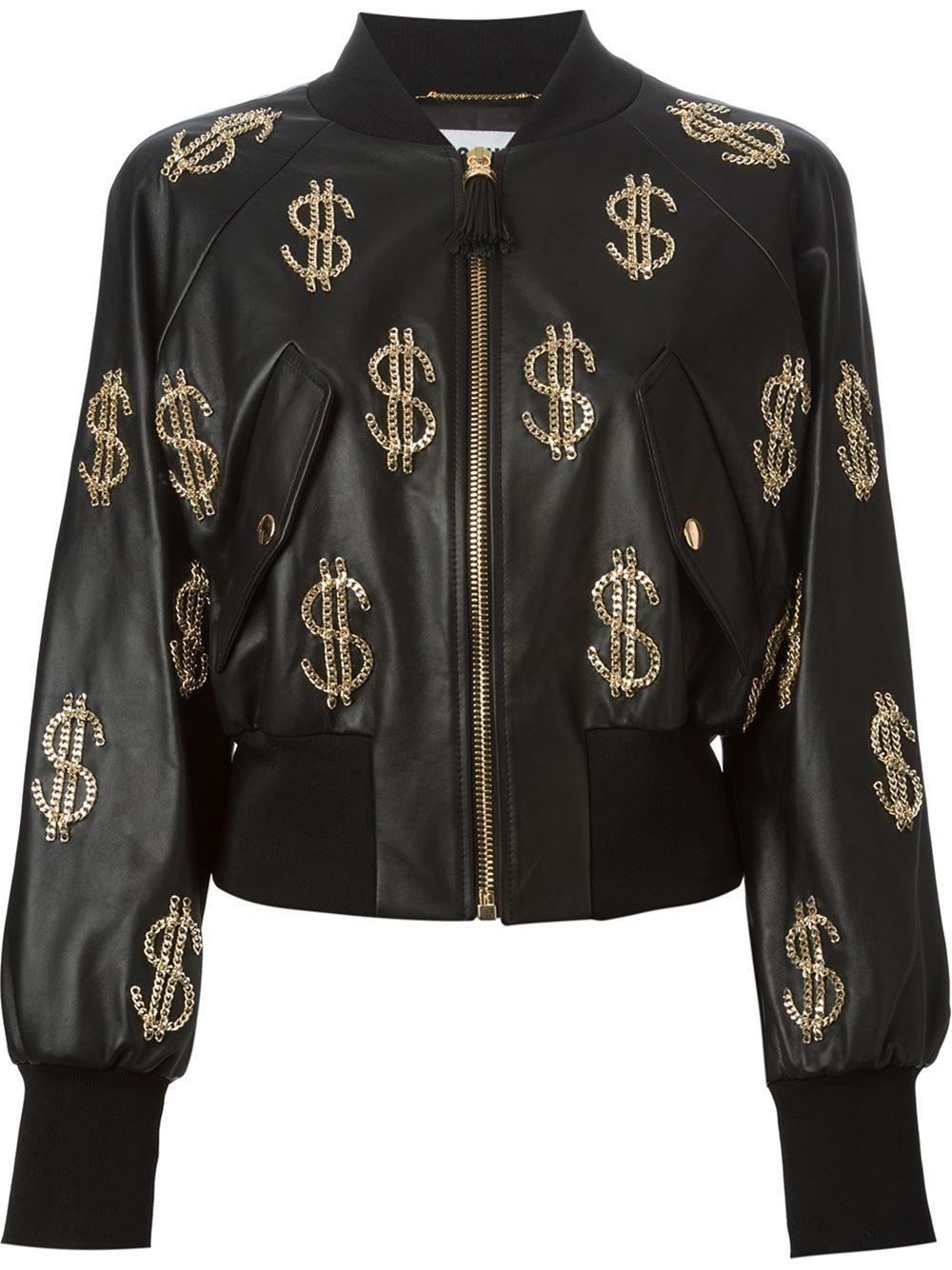 227d3f0a74 Moschino Chain Dollar Sign Bomber Jacket - Stefania Mode - Farfetch ...