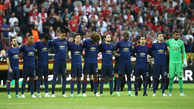Manchester United players observe one minute's silence for their city and the victims of the attack at Manchester Arena, along with Ajax players and the 50,000 fans at Friends Stadium, Stockholm, for the Europa League Final. United won 0-2 with goals to Pogba and Mkhitaryan. 25.05.17
