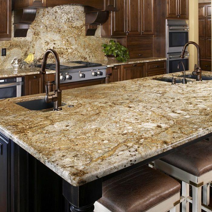 Golden Crystal Natural Stone Granite Slabs Arizona Tile Granite Countertops Kitchen Granite Kitchen Rustic Kitchen
