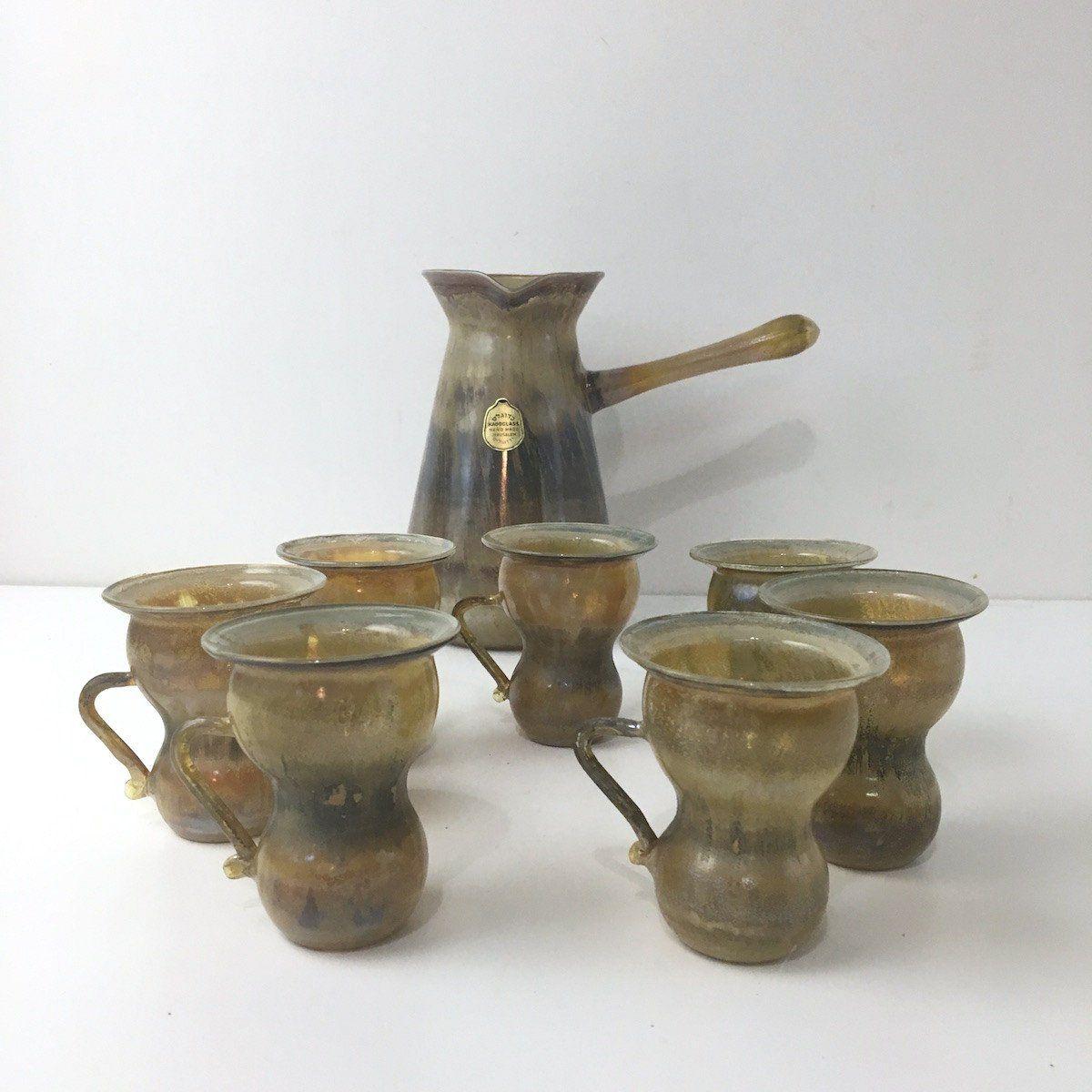Vintage Kadoglass Ibrik Coffee Set Finzan Server 6 Fincan Iwaki Water Drip 4 Cup Cups Israeli Art