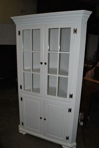 Antique White Painted Mahogany Corner China Display Cabinet Curio