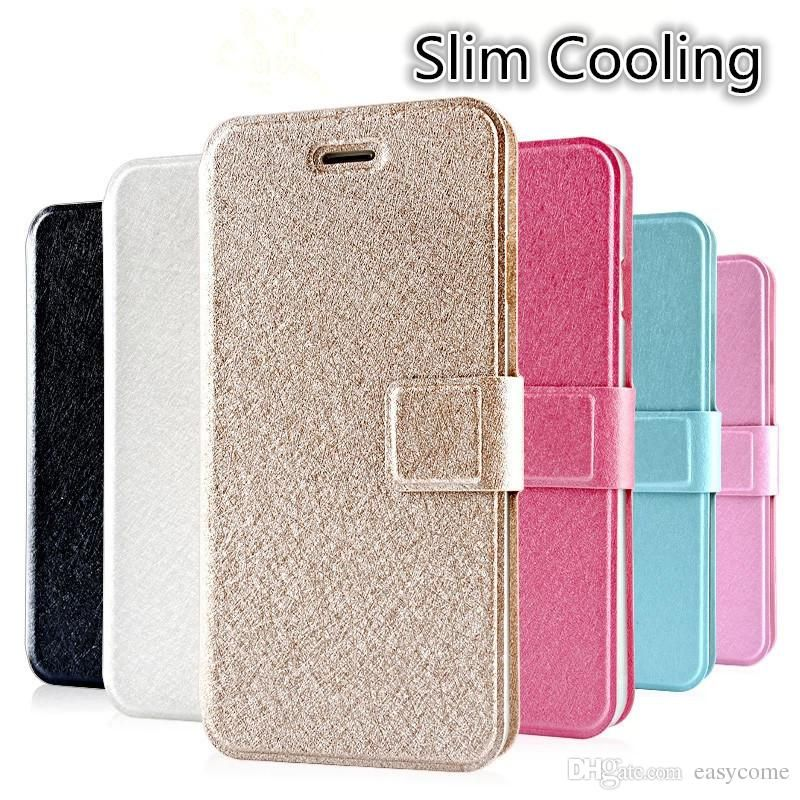 ad9fb3672d5 Leather Case Silk Print Wallet Case with ID Card Slot Stand for Iphone 6  Plus 5S Samsung Galaxy S6 Edge S5 Note4 Cases from Easycome