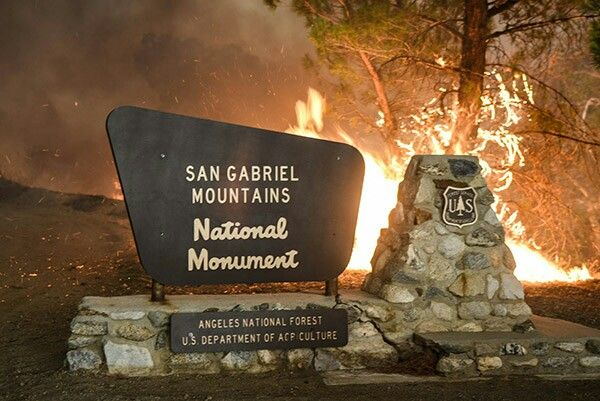 San Gabriel Mountains National Monument Angeles National Forest up in flames.