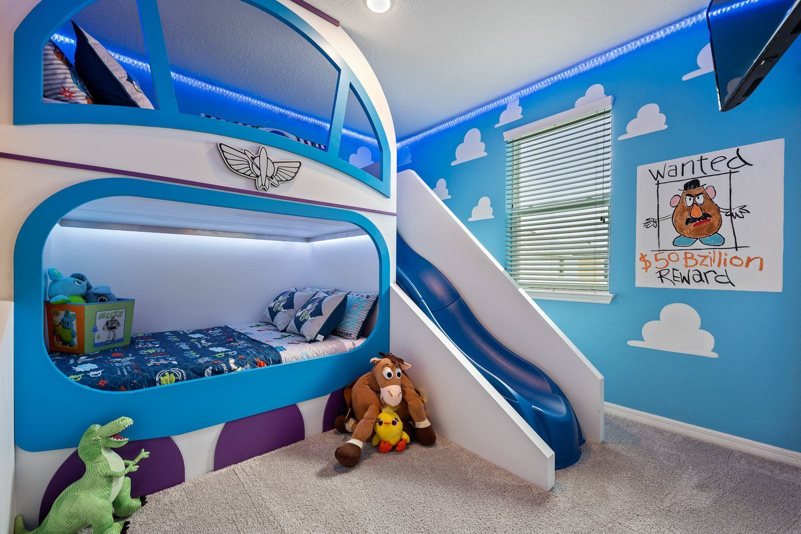 Ultimate Toy Story Room Buzz Lightyear Bunkbed And Slide Full Size Beds Woody Buzz Mr Potatoes Hea Disney Room Decor Toy Story Room Cool Kids Bedrooms