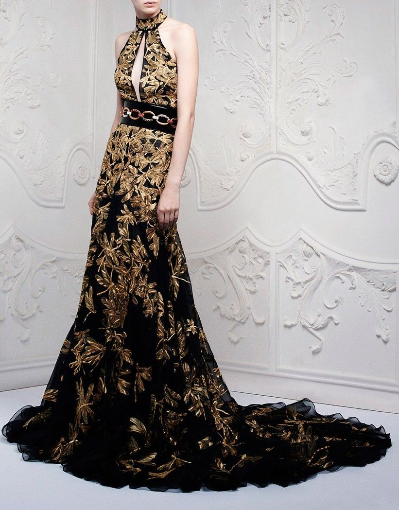 Black dress gold embroidery love it my style pinterest