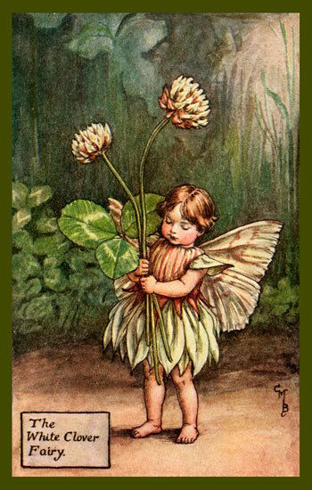 The White Clover Fairy by Cicely Mary Barker from the 1920s. Quilt Block of vintage fairy image printed on cotton. Ready to sew. Single 4x6 block $4.95. Set of 4 blocks with pattern $17.95.