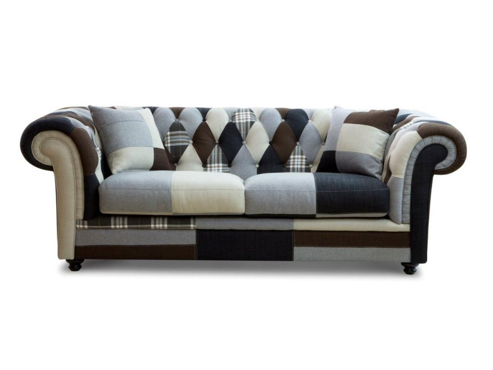Canape 3 Places Chesterfield Velours Anthracite Canape 3 Places Tissu Canape Patchwork Canape 3 Places