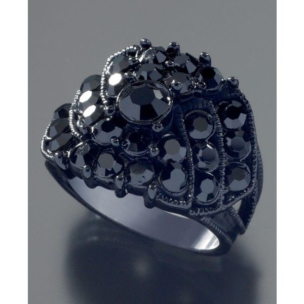 Guess Jet Black Crystal Accent Ring (305 MXN) ❤ liked on Polyvore featuring  jewelry 4c527a7a9fc