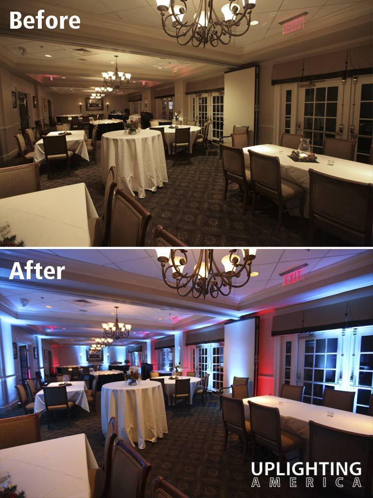 Uplighting Before And After Example From America Atlanta Area Decor Lighting Company Ice Blue Red Effect At Indian Hills Country Club