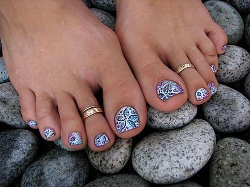 Glitter Gel Toe Nail Art Designs
