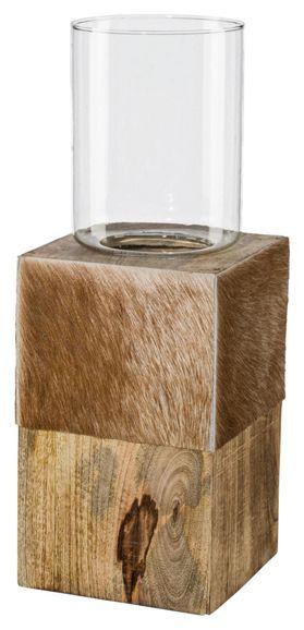 Windlicht aus Holz und Echtfell - für ein gemütliches Ambiente