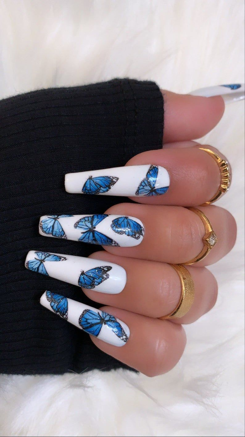Flutter Vibez Press On Nails Fake Nails False Nails Etsy In 2020 Fire Nails Blue Acrylic Nails Cute Acrylic Nail Designs