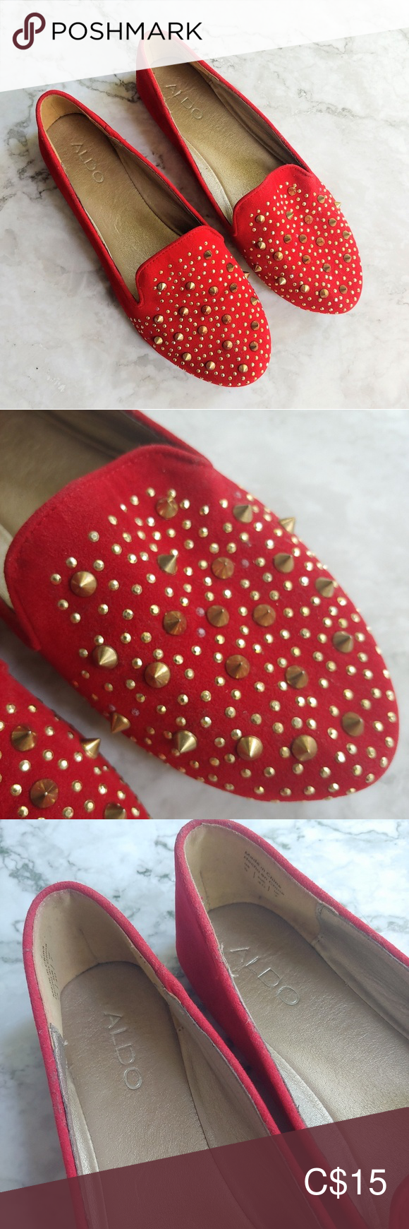 Aldo red spike stud loafers