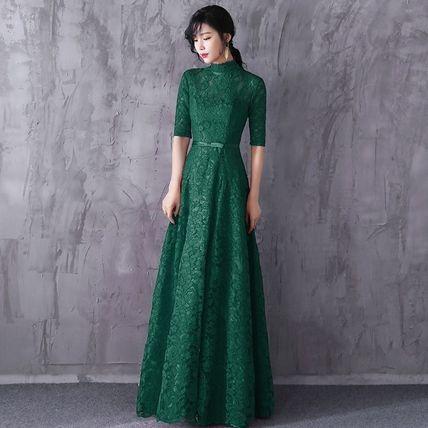 df5e74747f48e ドレス-ロング レースロングマキシパーティードレス 黒緑 結婚式 二次会 演奏会(
