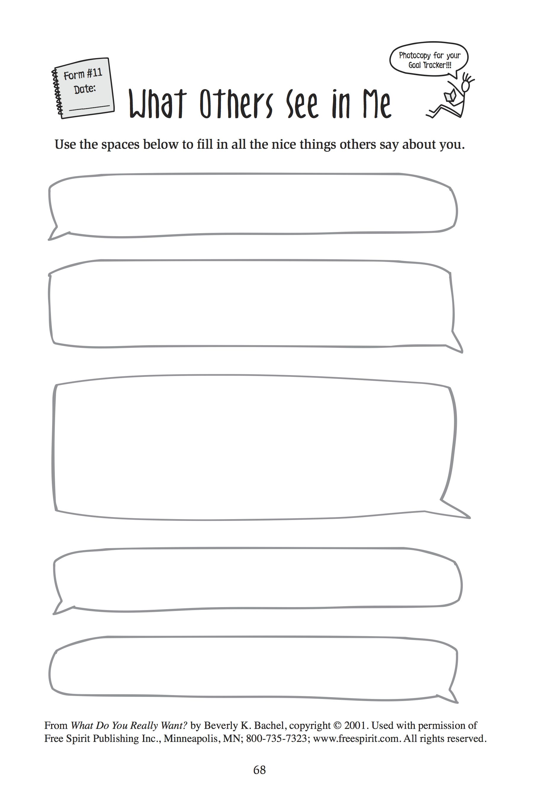 Free printable worksheet for school counselors: What Others See in ...