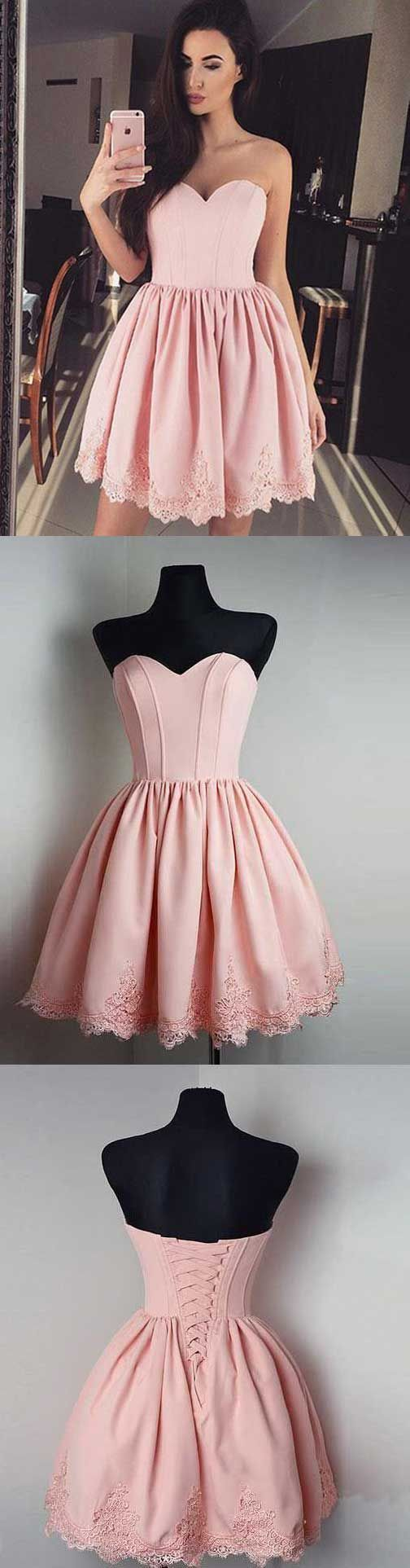 Aline sweetheart short satin pink homecoming dress with appliques