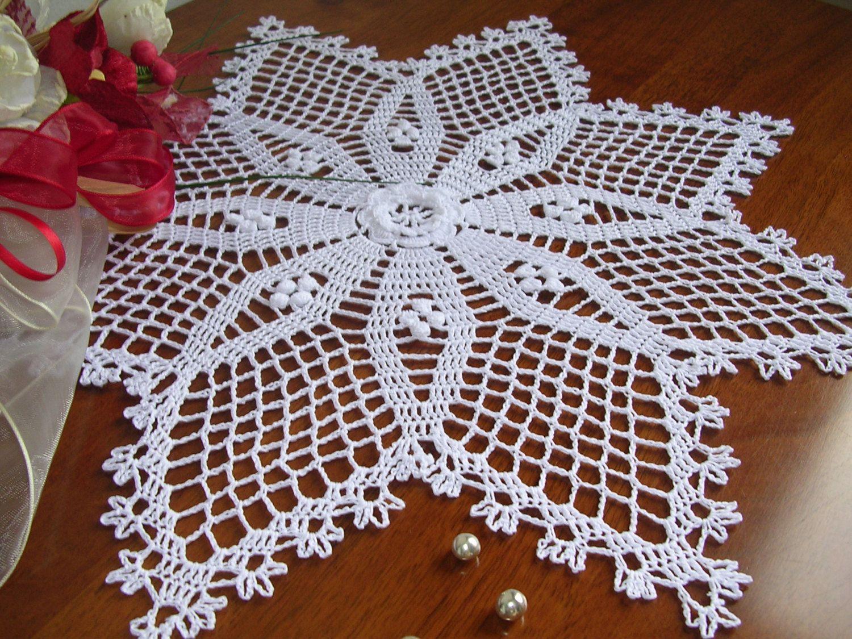 Easter crochet star doily decoration lace french star centerpiece napperon white cotton wedding - Decoration au crochet ...