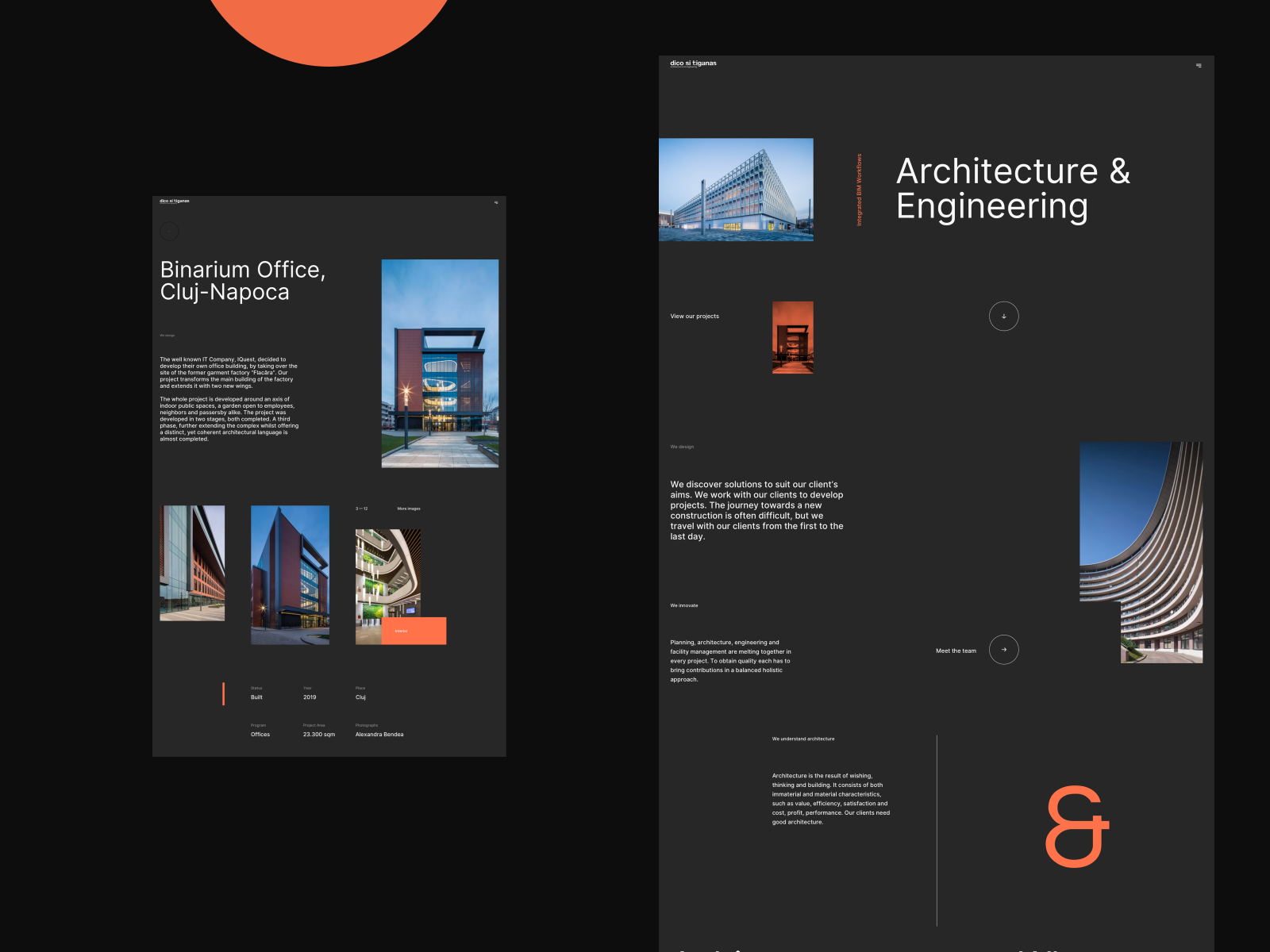 Architecture Website Concept Desktop Whitespace Dark Black Orange Engineering Cluj Premium Elegant Minimalist Building Architect In 2020 Web Design Design Architecture