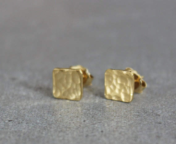 Gold Square Earrings Small Stud Hammered Studs Minimalist