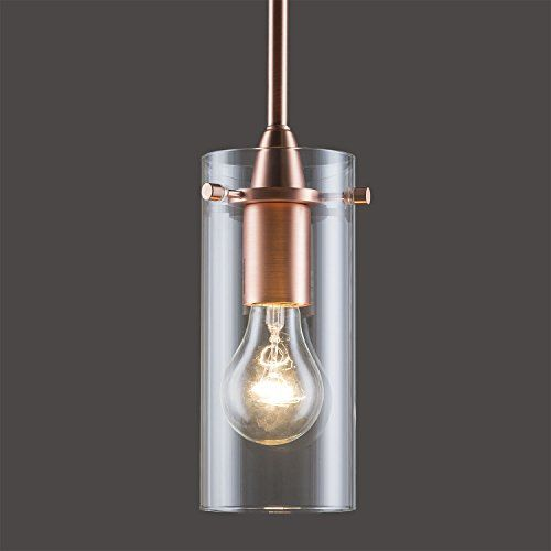 Linea di Liara Effimero Small One-Light Stem Hung Pendant Lamp, Copper with Clear Glass Cylinder LL-P311-CU
